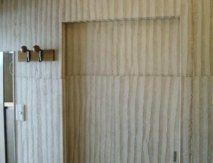 自然素材リフォーム:壁に手漉き紙を貼る★手漉き紙使用事例 0606