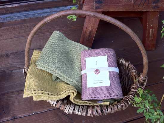 自然栽培綿の布小物:ステッチタオル