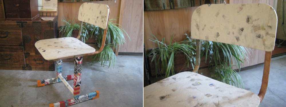 自然素材のDIY :手漉き紙で昔の学校椅子をリメイク★手漉き紙使用事例